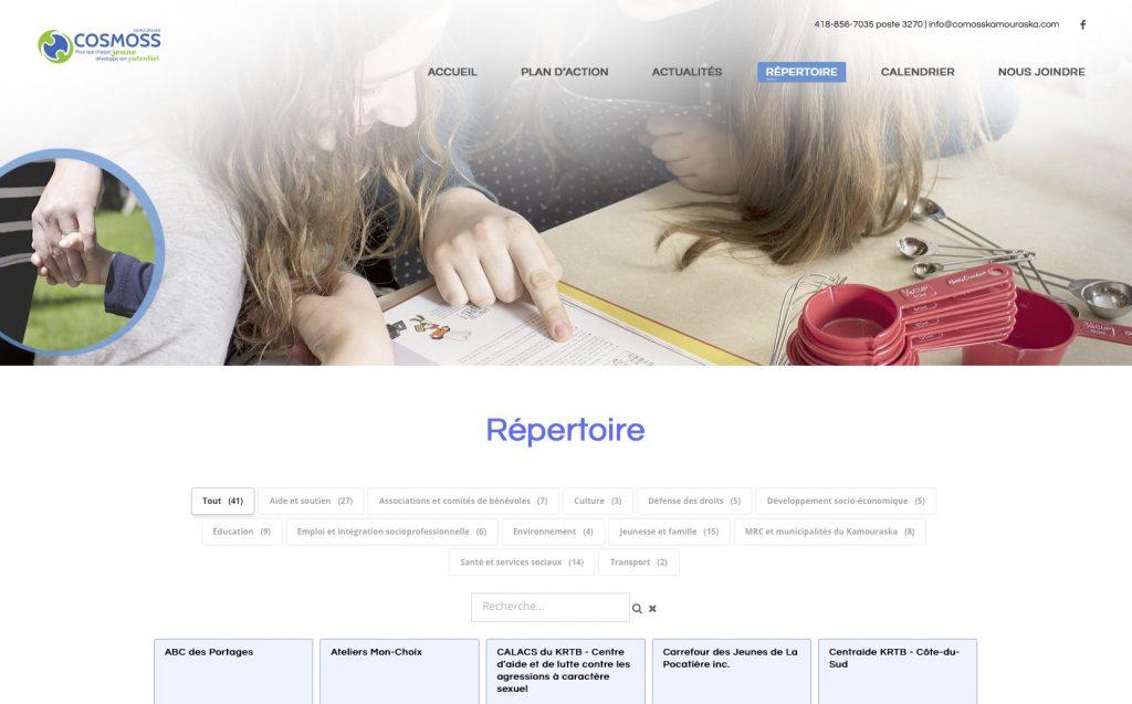 Page du répertoire montrant toutes les fiches par défaut.