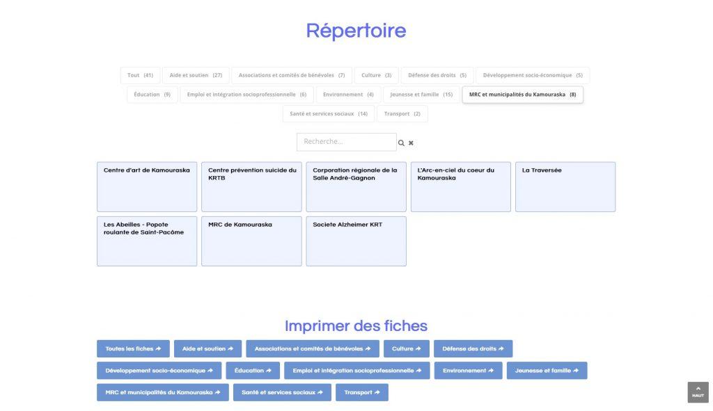 Page du répertoire montrant une catégorie sélectionnée.