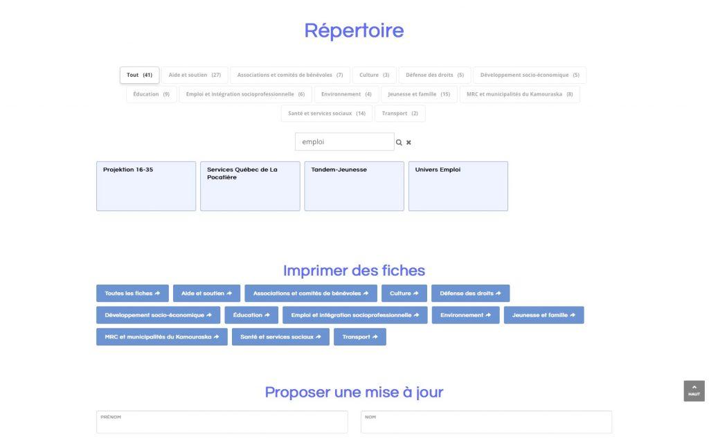 Page du répertoire montrant la recherche en texte libre dans le répertoire seulement.
