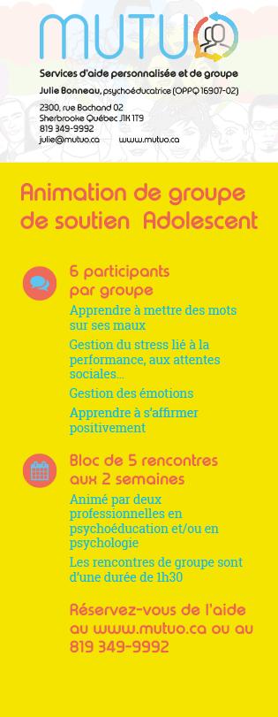 Carton avec partie détachable en carte professionnelle pour la promotion des groupes de soutien adolescent