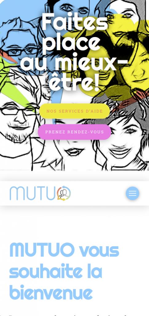 Page d'accueil du site adaptée au téléphone