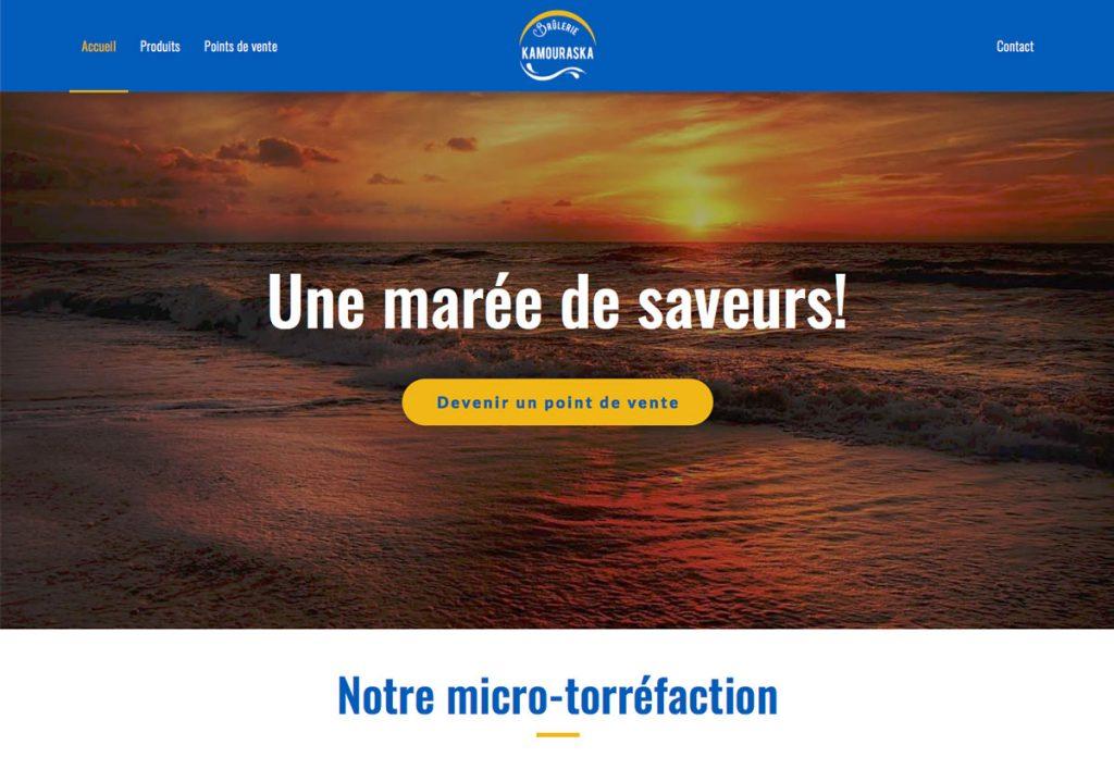 Entête de la page d'accueil - Site web Brûlerie du Kamouraska