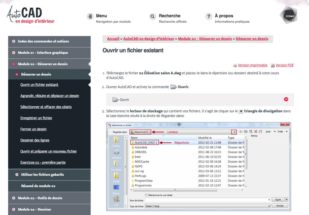 Site web AutoCAD en design d'intérieur du CCDMD