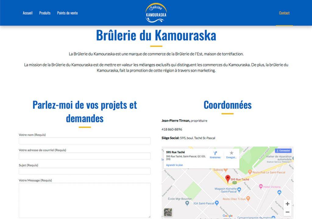 Page Contact - Site web Brûlerie du Kamouraska