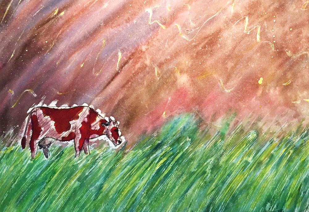«Vache cosmique», illustration à l'aquarelle avec une vache comme sujet principal
