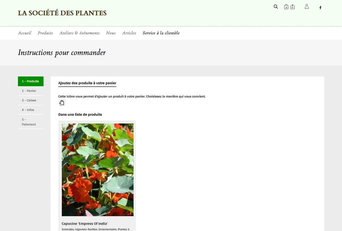 Refonte du site web de la soci t des plantes communication for Site de vente de plantes