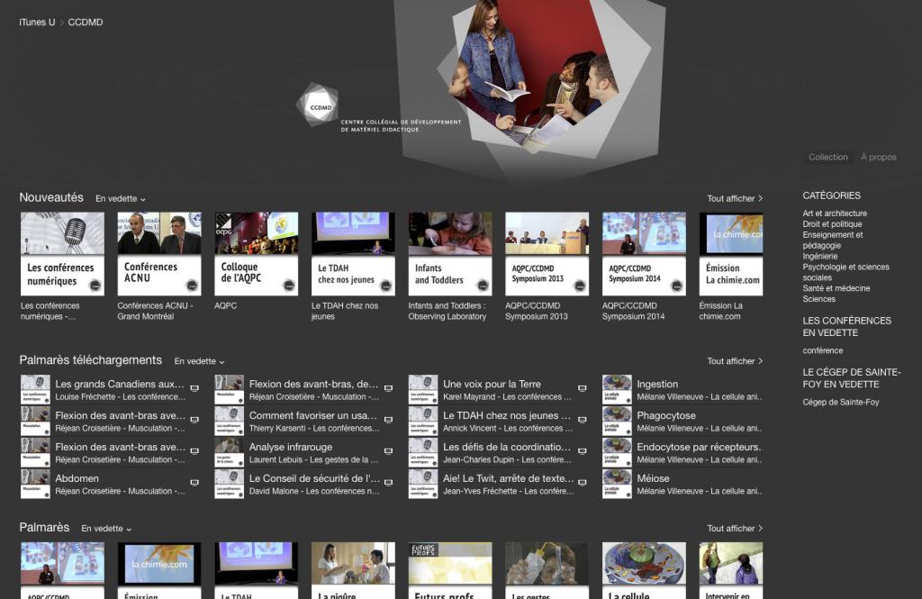 Page d'accueil du CCDMD dans iTunes University