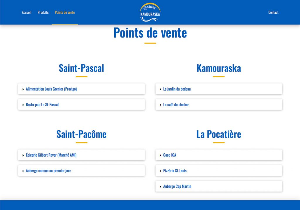 Page Points de vente - Site web Brûlerie du Kamouraska