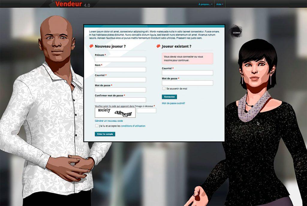 Écran d'accueil de la simulation-jeu «Vendeur», version 4.0