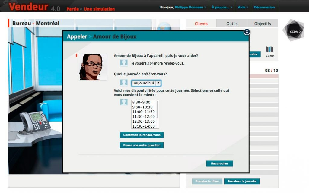 Écran d'interaction de la simulation-jeu «Vendeur», version 4.0