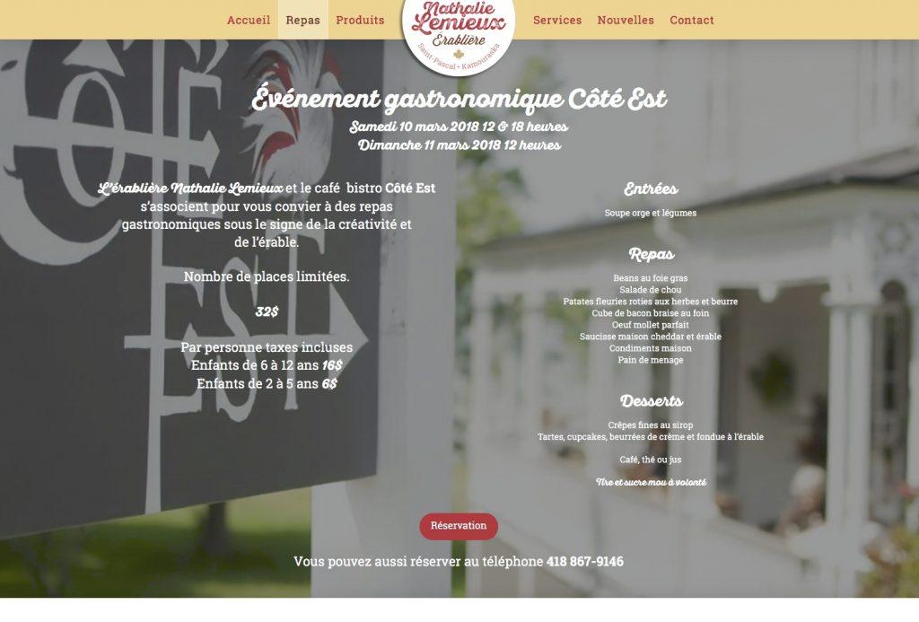 Page Repas - événement gastronomique